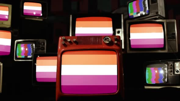 Thumbnail for Lesbian Pride Flag and Retro TVs.
