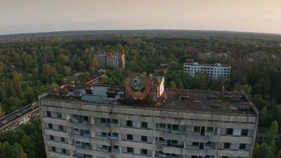 Drone Shot of Pripyat Town Panorama at Sunrise