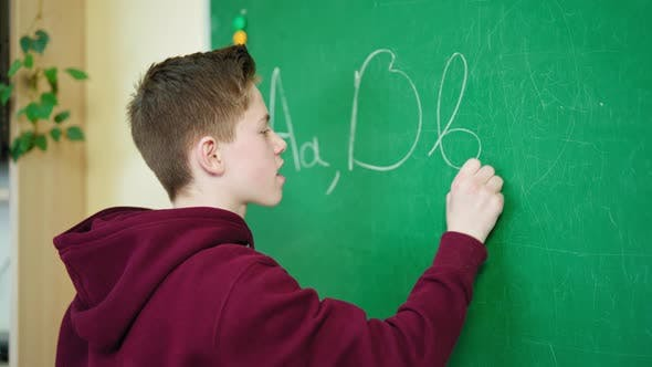 Teenage boy studying at school