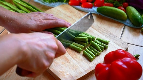 Thumbnail for Cutting Vegetables. Long Bean
