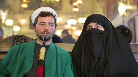 Portrait of Islamic Couple, Smoking Shisha