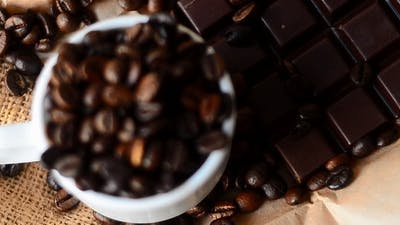 Coffee Beans And Chocolate Bar