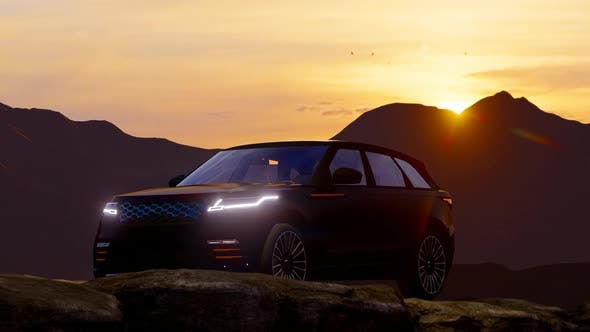 Thumbnail for Black Luxury Off-Road Vehicle Progressing in the Mountainous Area at Sunset
