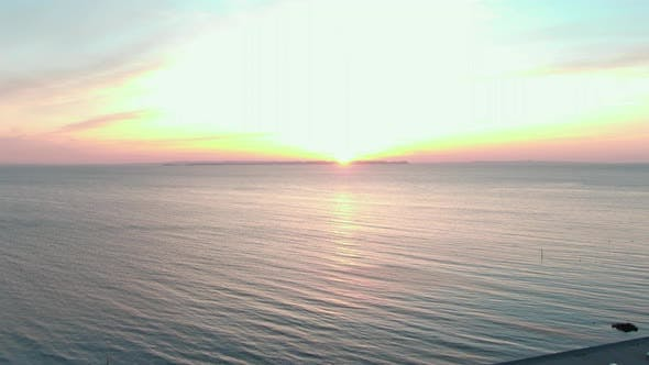 Beautiful Sunset and a Large Stretch of Ocean in Denmark