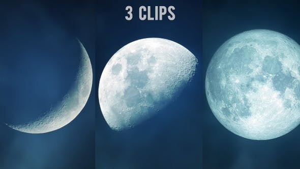 Thumbnail for Dreamy Moon Closeup with Soft Clouds - 3 Clips