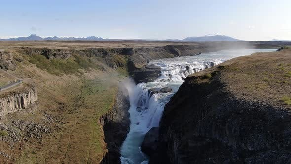 Aerial view of Gullfoss (Golden Waterfal), attraction of Golden Circle, Iceland