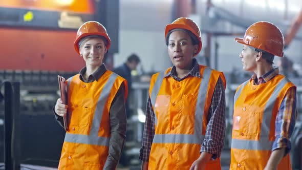 Thumbnail for Female Factory Supervisors Discussing Manufacture