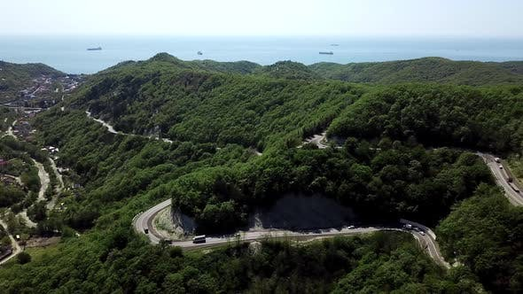 Thumbnail for Aerial View of a Curved Winding Road Trough the Mountains To Sochi, Russia