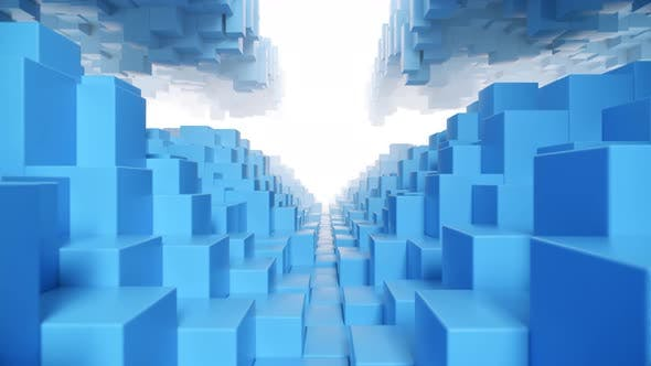 Thumbnail for Abstract Geometric Tunnel Made of Blue Cubes with Random Movement. Seamless Loop 3d Render