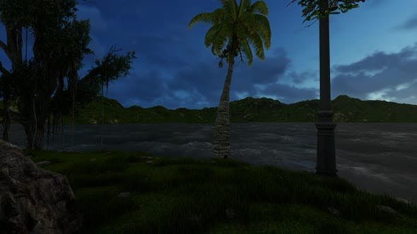 Thumbnail for Panorama of the mountains at night