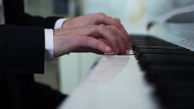 Hands Playing Piano Close Up Performance