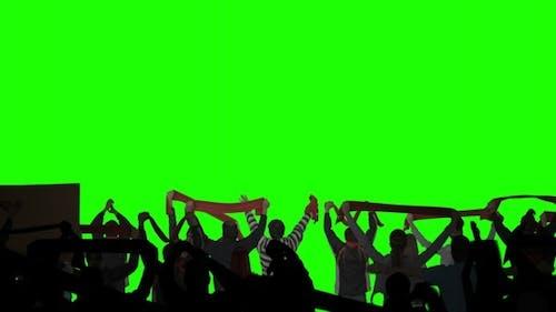 Layered Crowd on Green Screen