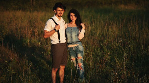 Thumbnail for Loving couple posing At Aunset Country And Nature