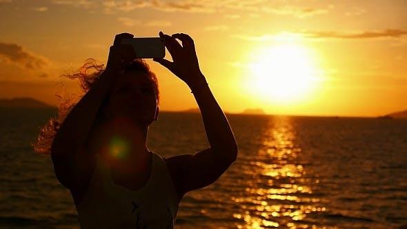 Taking Selfie at Amazing Sunset