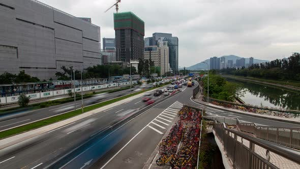 Thumbnail for Timelapse Shenzhen Highway with Heavy Traffic By Calm River
