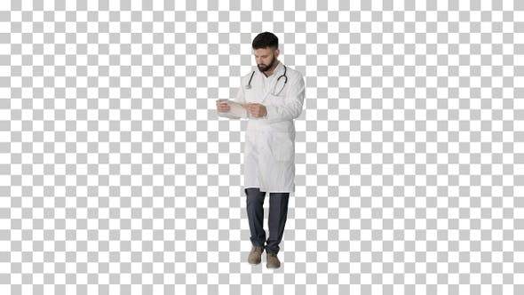 Thumbnail for Arab doctor looking at cardiogram walking, Alpha Channel