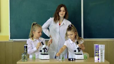Group Of Pupils With Teacher Using Microscopes In Science Class. Back to school and home schooling.