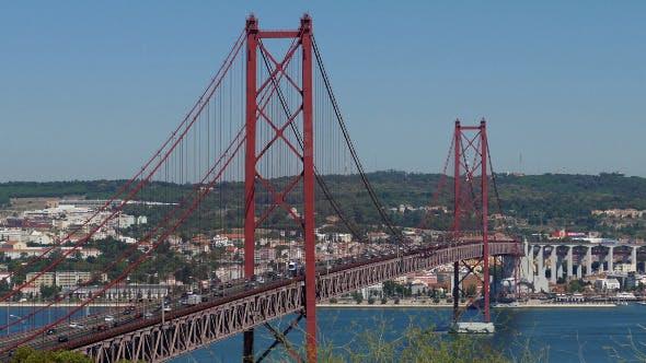Thumbnail for Top View on the 25 de Abril Bridge in Lisbon 850