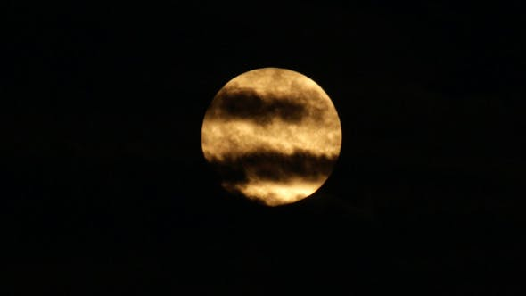 Thumbnail for Scary Orange Super Moon with Clouds