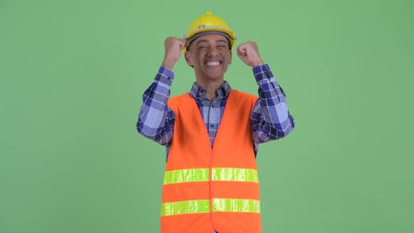 Thumbnail for Happy Multi Ethnic Man Construction Worker Getting Good News
