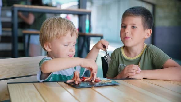 Thumbnail for Kids Food, Cute Little Hungry Male Child with an Appetite Eating Healthy Breakfast Grilled Sausages
