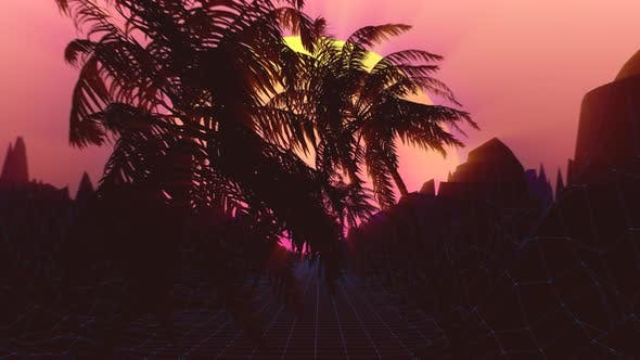 Thumbnail for Palm Tree Sunset Transition 4K