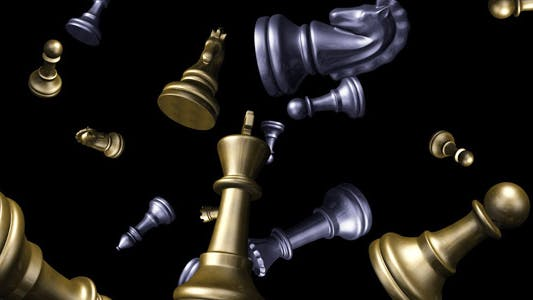 Thumbnail for Chess Pieces Flying - Gold & Silver