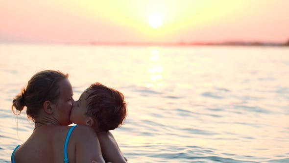 Thumbnail for Lovely Mother And Little Son Swimming In Sea