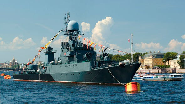 Thumbnail for Military Ship On Neva River, St. Petersburg