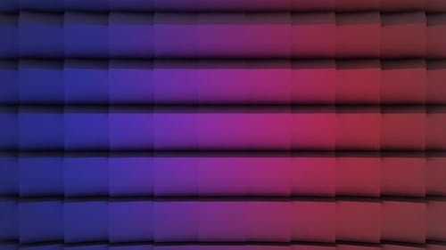 Violet and pink rotating cubes in horizontal lines