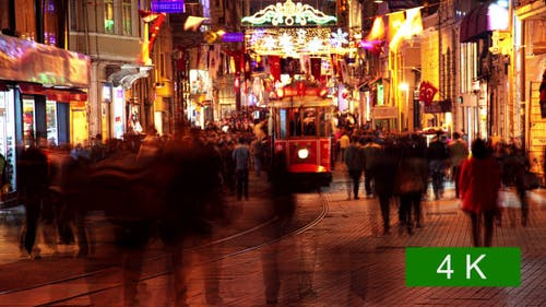 Pedestrian Street in Istanbul at Night