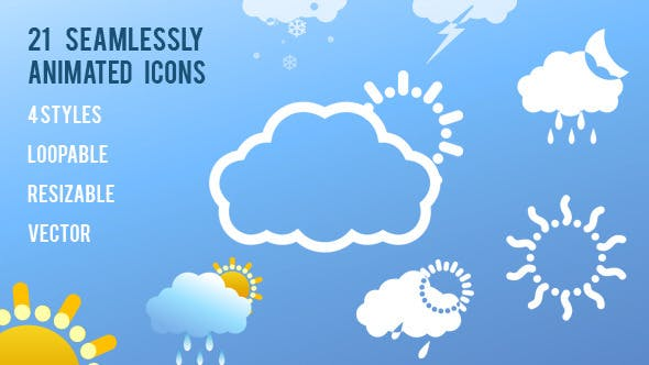 Thumbnail for 21 Animated Weather Icons