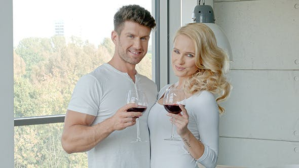 Thumbnail for Happy Couple Drinking Red Wine To Celebrate