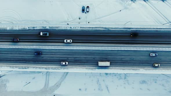 Aerial Top View of Traffic on a Freeway