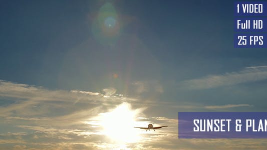 Thumbnail for Small Plane Flying In Front Of Sun Via Sunset