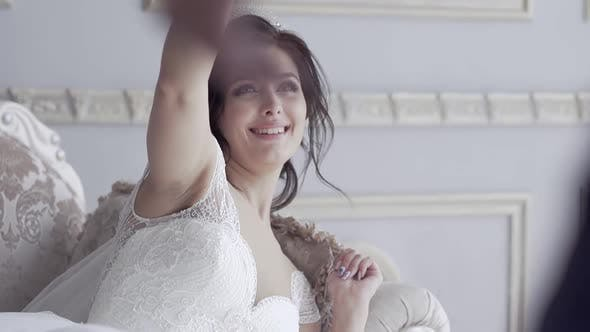 Slow Motion Pretty Smiling Bride Throws Jacket To Groom