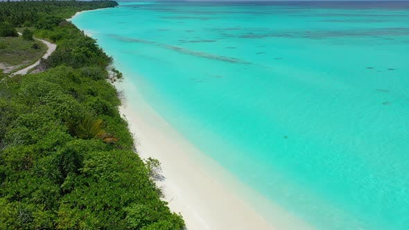 Thumbnail for Natural aerial clean view of a sunshine white sandy paradise beach and turquoise sea background in h