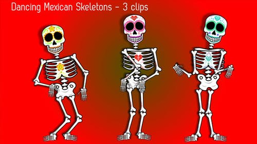 Mexican Dancing Skeletons - 3 Clips