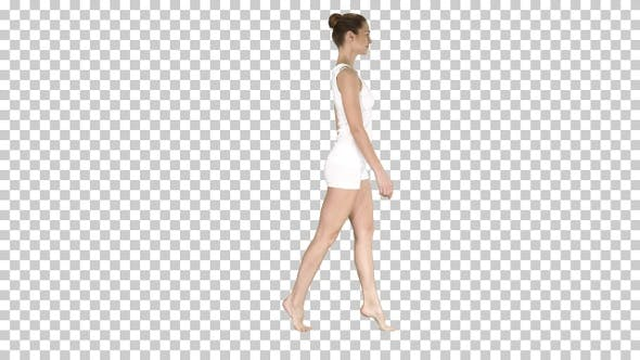The young woman walking on her tip-toes, Alpha Channel