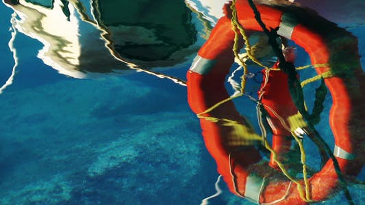 Thumbnail for Life Buoy Reflection On The Sea Water