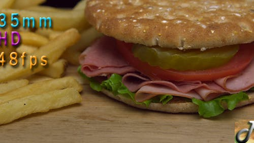 Sandwich On Slim Bread And French Fries