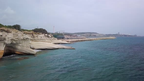 Amazing Seashore of Limassol Area in Cyprus in Cloudy Weather