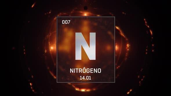 Nitrogen as Element 7 of the Periodic Table on Orange Background Spanish