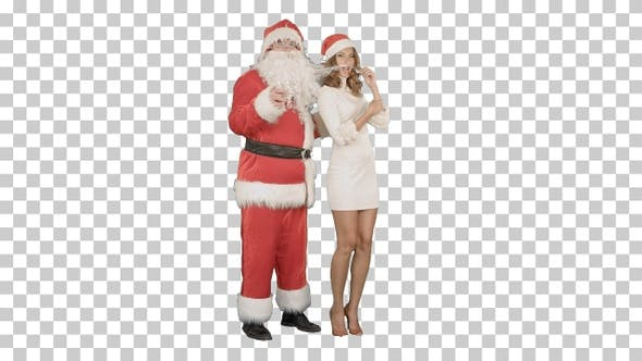 Santa Claus with excited pinup dancing woman, Alpha Channel