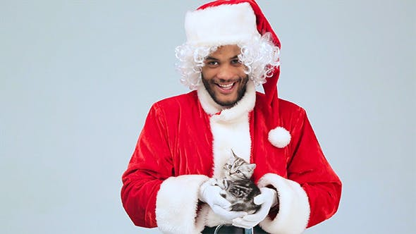 Thumbnail for Santa Claus Holding a Kitten and Smiling