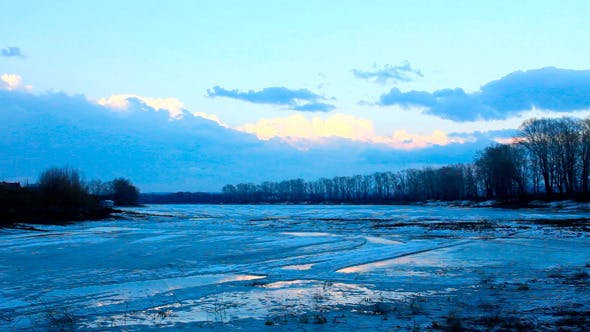 Thumbnail for Spring Lake Landscape With Melting Ice