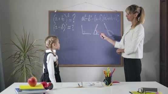 Thumbnail for Portrait of Smart Caucasian Woman Explaining Math To Cute Little Girl