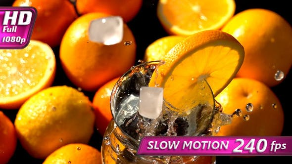 Thumbnail for Falling Ice Cubes in a Citrus Drink