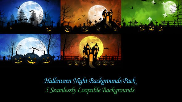 Thumbnail for Halloween Night Backgrounds Pack