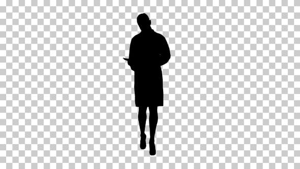 Thumbnail for Silhouette Young doctor woman reading documentation while